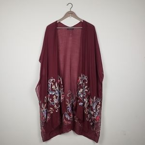 Do Everything in Love Embroidered Floral Kimono
